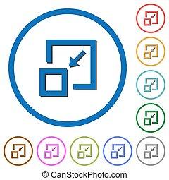 skuggor, element, krympa, grunddrag, ikonen