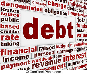 skuld, finansiell, affisch