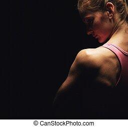 skuldre, kvinde, duelighed