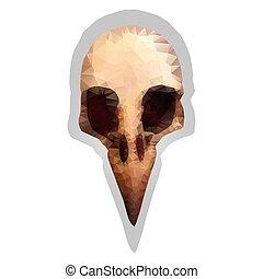 skull., スタイル, 鳥, s, ベクトル, triangulation., 図画