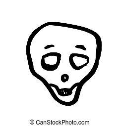 skull., ベクトル, ハロウィーン, 漫画, イラスト