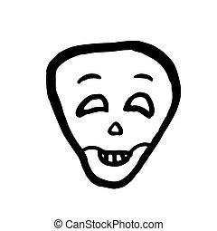 skull., ベクトル, ハロウィーン, 漫画, 笑い