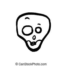 skull., ベクトル, ハロウィーン, 衝撃を与えられた