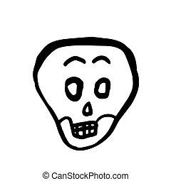 skull., 疑うこと, ハロウィーン, イラスト, ベクトル, 漫画