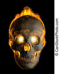 3d render of skull covered with flames