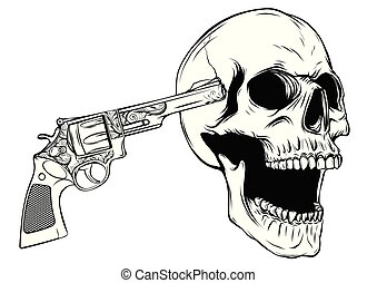 skull aiming with two revolvers vector illustratio - skull ...