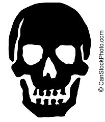 An illustrated black skull.