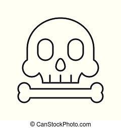 Skull and bone outline icon on white background