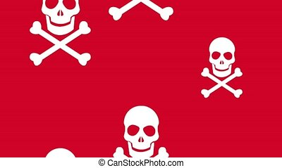 Skull and bones background HD animation - Skull and bones...