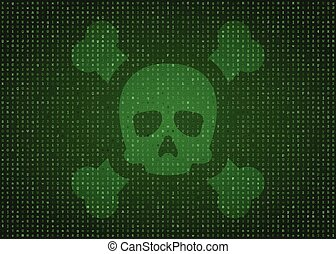Skull and bones on green matrix background. Cyber attack ...