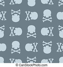 Skull and Bones pattern seamless. death background. Crossbones skeleton ornament. Vector texture