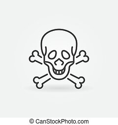 Skull and Bones vector concept icon in outline style