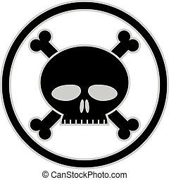 Skull and bones vector icon.