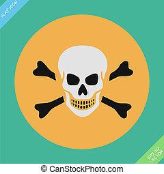 Skull and bones warning sign - vector illustration