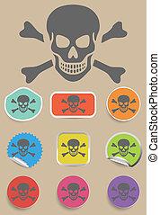 Skull and bones warning sign - vector