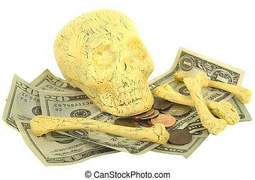 Skull and Bones with Money - Concept of death and money:...