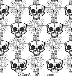 Skull and candle occult seamless pattern