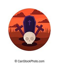 skull and coffin design