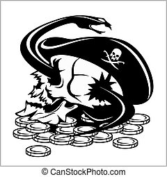 Skull and coins pirate jolly roger wearing hat and eye patch