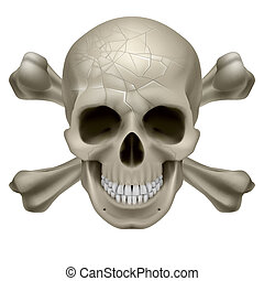 Skull and Crosbones -illustration of a scratch human skull...