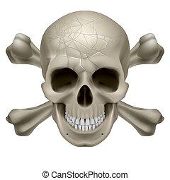 Skull and Crosbones -illustration of a scratch human skull ...