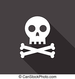 skull and cross bone with long shadow, flat design vector for halloween, pirate and poison symbol