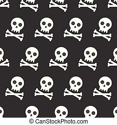 skull and cross bones, Halloween seamless pattern, flat design with clipping mask