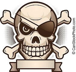 Skull and Crossbones Banner Illustration
