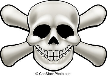 Skull and Crossbones Cartoon - Cartoon pirate skull and...