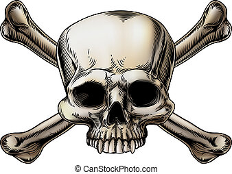 Skull and crossbones drawing with skull in the center of the...