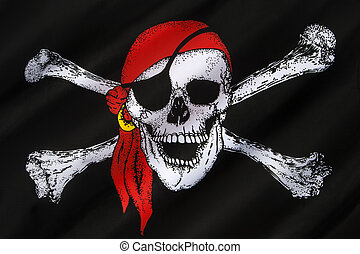 The skull and crossbones is a representation of a skull with two thigh bones crossed below it as an emblem of piracy or death. Also know as the Jolly Roger.