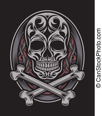 Skull and Crossbones - fully editable vector illustration...
