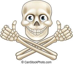 Skull and Crossbones Giving Thumbs Up - A cartoon Halloween...