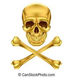 Skull and crossbones - Gold Skull and Crossbones. ...