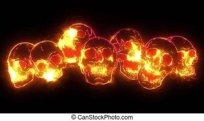 skull and crossbones. human skulls and bones with shallow ...