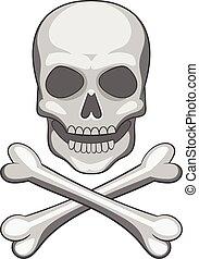 Skull and crossbones icon, cartoon style
