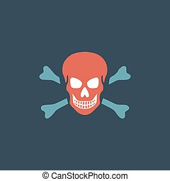 Skull and crossbones icon isolated.