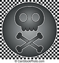 Skull and crossbones icon on checkered background.