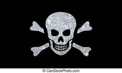 Skull And Crossbones Icon Sparkling Shining White Blinking Particles Diamond Glitter Loop Light 4K Animation Alpha Channel.