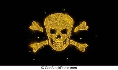 Skull And Crossbones Icon Sparks Particles on Black...