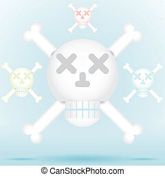 Skull and crossbones icon style in different color