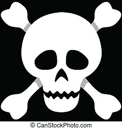 Skull and Crossbones - Illustration of a human skull on a ...