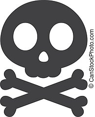 Skull and crossbones in black on a white background. Vector illustration