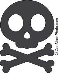 Skull and crossbones in black on a white background. Vector illustration