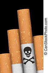 Skull and crossbones in cigarette.