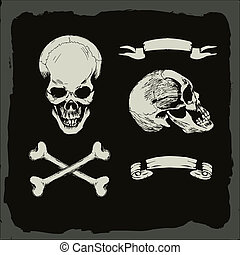 skull and crossbones, on gunge background, pirate, heavy metal cover template