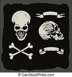 skull and crossbones, on gunge background, pirate, heavy ...