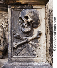 Skull And Crossbones On Headstone - A grisly image of death...