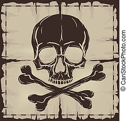 Skull and Crossbones over old damaged map
