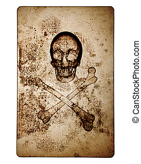 Skull and Crossbones over old damaged paper